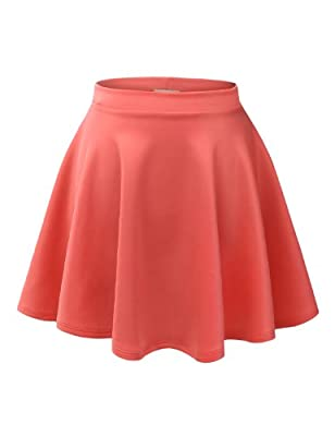 3LCollection Womens Basic Versatile Stretchy Flared Skater Skirt (Made in USA)