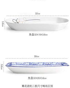 Assiette en porcelaine grand poisson plaque en c/éramique vaisselle m/énage rectangulaire /à la vapeur poisson plat micro-ondes cuisson plateau promettant infini 12 pouces assiette de poisson 12 pouces