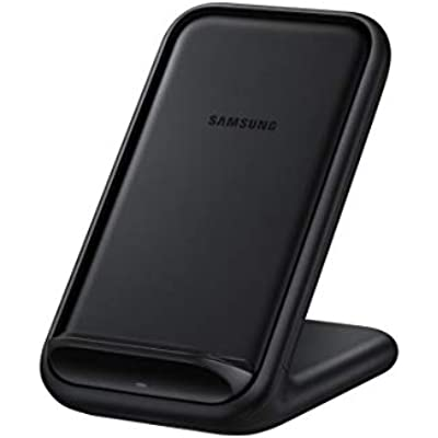 Samsung Original Wireless Charging Stand     Compatible Samsung Wireless Charger Samsung Galaxy Fast Wireless Charger with Built-In Cooling Fan and Mains Power Adaptor Black