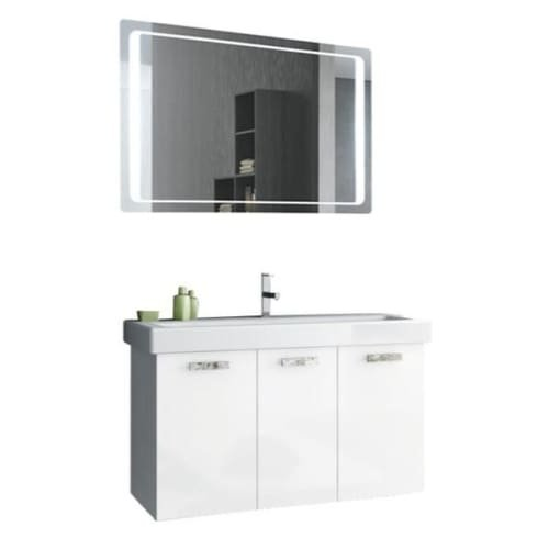 Nameeks C120 ACF 37-6/15″ Wall Mounted Vanity Set with Wood Cabinet, Ceramic Top, Glossy White