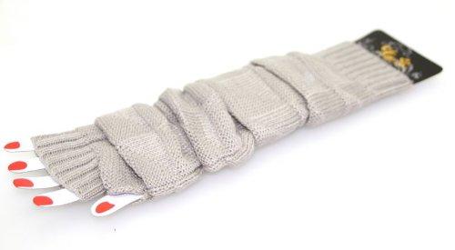 Gantelets de bras, mitaines très chaudes grises 2 pièces détails raffinés