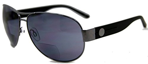 In Style Eyes Stylin C Moore Aviator Nearly Invisible Line Bifocal Sunglasses/Pewter 2.00 by In Style Eyes
