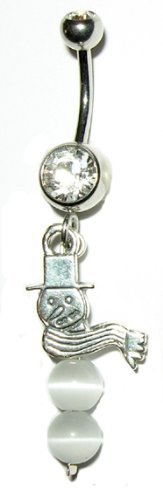 Snowman with Cat's Eye - Belly Button Ring - Sterling Silver Face