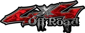 Weston Ink Reflective Off Road Twisted Series 4x4 Truck Bedside or Fender Emblem Decals in Red Camouflage