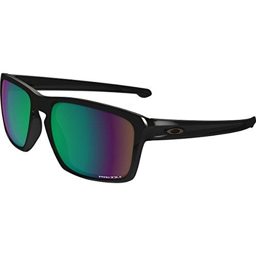 Oakley Men's Sliver Polarized Iridium Rectangular Sunglasses, Polished Black, 57.01 - Oakley Lenses Prescription Sliver