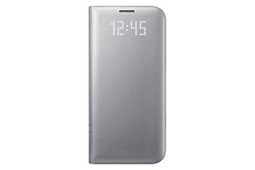 Galaxy S7 Edge, Official Genuine Samsung S7 Edge LED View Flip Cover (EF-NG935P) 5.5' (Silver)