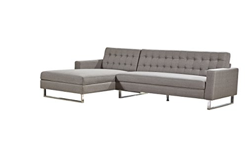 Container Direct Dorris Collection Modern Button Tufted Fabric Sectional Sofa With Left-Facing Chaise, Brown