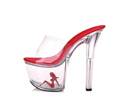 KPHY Super Table Dance Shoes Spring Slippers Cool 17Cm Waterproof Transparent Crystal Fine Gules Seven Thirty Shoes With Heels zrpgz