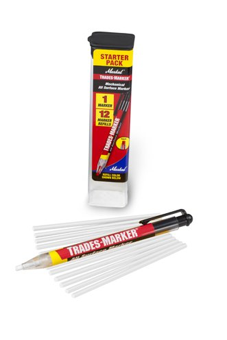 La-Co Markal Trades-Marker Mechanical China Permanent Marker - White, 1 Holder - 12 Refills/Pack (2 Pack)