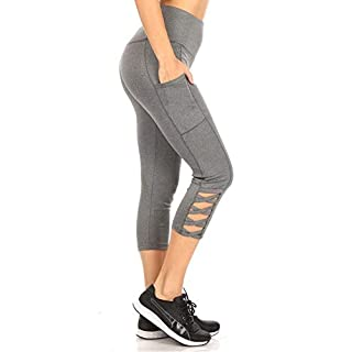 ShoSho Womens High Waist Sports Capris Yoga Tummy Control Leggings Activewear Stretch Bottoms Cropped Athletic Pants with Crossed Straps & Phone Pockets Heather Grey X-Large