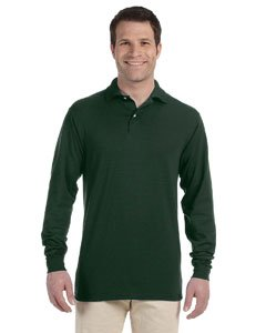 Jerzees mens 5.6 oz. 50/50 Long-Sleeve Jersey Polo with SpotShield(437ML)-FOREST GREEN-M