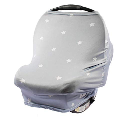 Grey with Stars – 5-in-1 Multi use Nursing Cover car seat Canopy for Girls + Boys by Buddies + Bear - Best for Breastfeeding, Shopping cart, high Chair. Unisex 360 Degree Coverage. Great Shower Gift (Floral Cover Toddler Car Seat)
