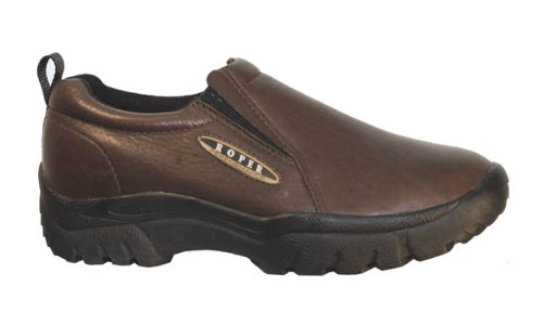 (Roper Mens Performance Sport Slip-On Brown Leather Comfort Loafer Shoes 10.5)