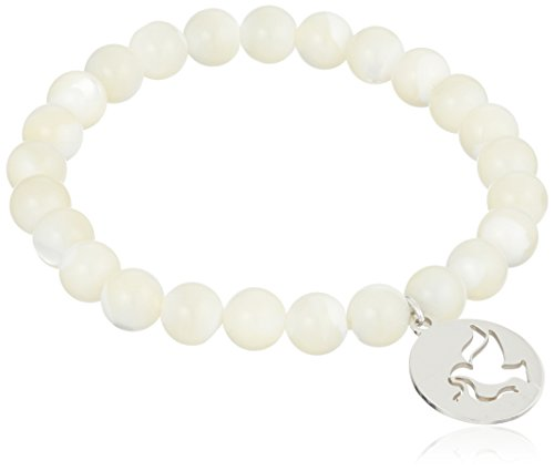 Sterling Silver Peace Dove Charm 8mm White Mother-of-Pearl Shell Stretch Bracelet - White Charm Dove