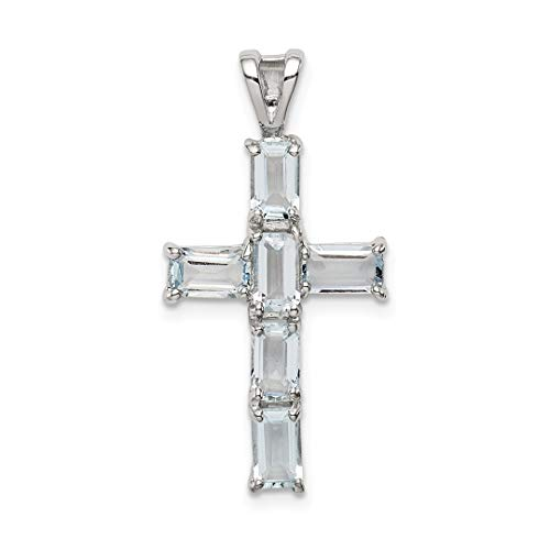 - 925 Sterling Silver Blue Aquamarine Cross Religious Pendant Charm Necklace Gemstone Fine Jewelry Gifts For Women For Her