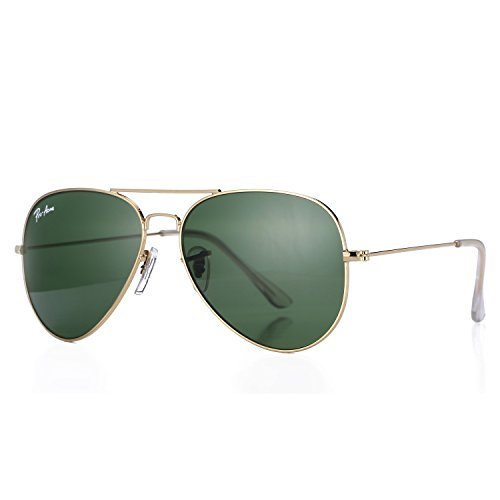 G15 Lens Sunglasses - Pro Acme Aviator Crystal Lens Large Metal Sunglasses (Gold Frame/Crystal G15 Green Lens)