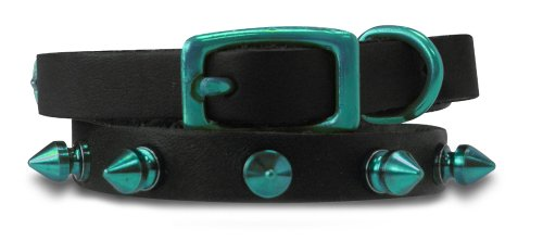 Platinum Pets Genuine LC10INTLSPK Leather Cat/Puppy Collar with Spikes, Caribbean Teal, My Pet Supplies