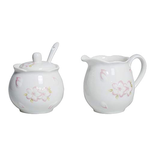 Ceramic White Creamer and Sugar Set with Lid Spoon 4 Piece