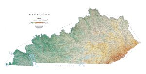 Kentucky Topographic Map by Raven Maps, Laminated Print