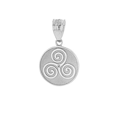 - Solid 925 Sterling Silver Celtic Triple Spiral Triskele Round Charm Pendant