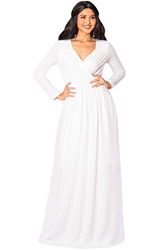KOH KOH Plus Size Womens Long Sleeve Sleeves Empire Waist Floor-Length Cocktail Elegant Evening Fall Modest Winter Formal Abaya Cute Gown Gowns Maxi Dress Dresses, White XL 14-16