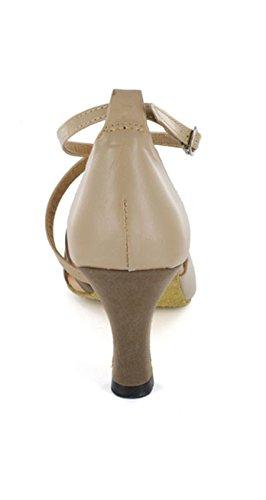 Modern Sexy Buckle Beige Heel Tango Latin Flared Cross Shoes Minitoo Sandals Strap Trendy Women's Dance p8x7n1nqw