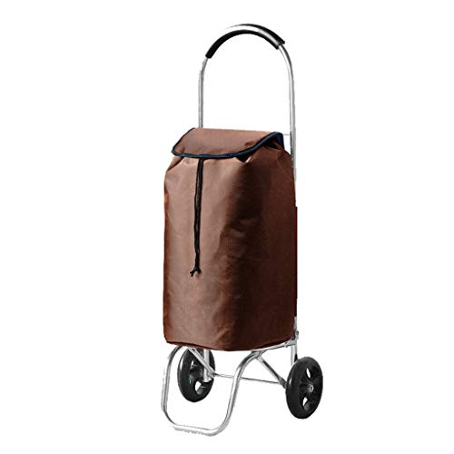 Magnesium Wheel Rear (Ultra-Light and Convenient Folding Aluminum Shopping Cart Trolley Trolley Four-Wheeled Luggage Can Climb 55L30 95CM (Color : Brown))