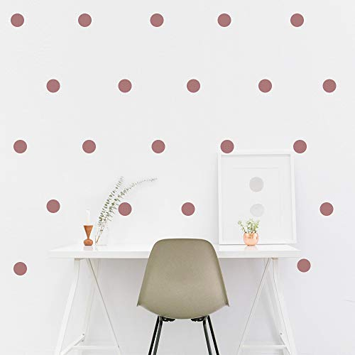 LEOTER Metallic Rose Gold Wall Decal Dots (2.0inch x 200 Decals)-Easy to Peel Easy to Stick + Safe on Painted Walls- Metallic Vinyl Polka Dot Decor - Round Circle Art Glitter Stickers Set