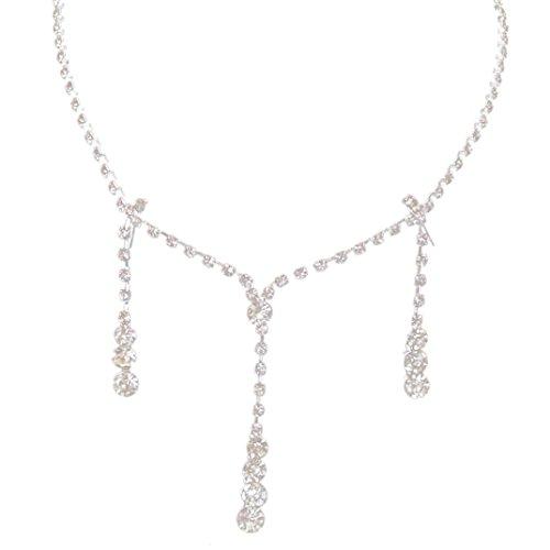 Lucoo Fashion Prom Wedding Bridal Jewelry Crystal Rhinestone Necklace Earring Sets
