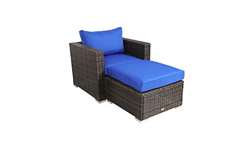 Outime Patio Furniture PE Brown Rattan Sofa Set 2pcs Royal Blue Cushion Garden Wicker Sectional Sofas Conversation Sets-(Single Sofa+Ottoman - Room Blue Garden