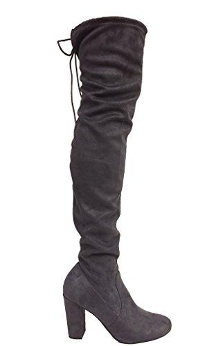 Köstliche Frauen Faux Suede zurück Tie Overknee Chunky High Heel Dress Boot Holzkohle Faux Wildleder
