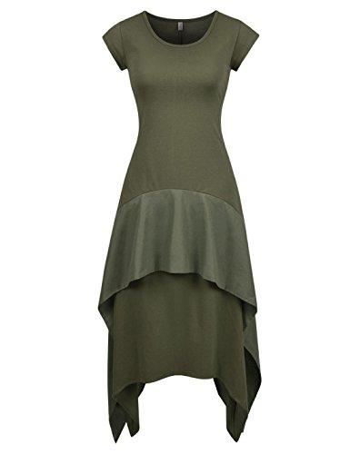 NEARKIN (NKNKWLD773 Womens Fitted Scoop Neckline Short Sleeves Midi Double Flounced Dress Khaki US L(Tag Size XL)