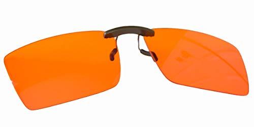 Clip On Blue Light Blocking Glasses for Sleep | Fits Over Prescription Glasses, Orange Lenses Reduce Eye Strain and Induce Sleep (Anti Glare Prescription Glasses For Night Driving)