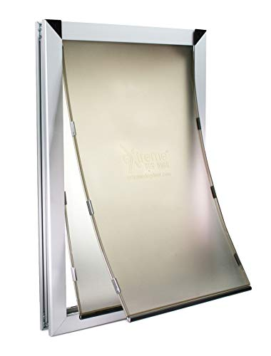 Extra Large Dual Flap Heavy Duty Dog Doors for Exterior Doors - Solid Aluminum Frame with Magnetic Closure on Polyurethane Flap All The Way Around for Optimal Seal to Keep Bad Weather Out