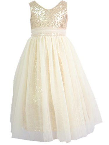 Bowdream Flower Girl's Dress Sequins Gold Ivory 8 Years ()