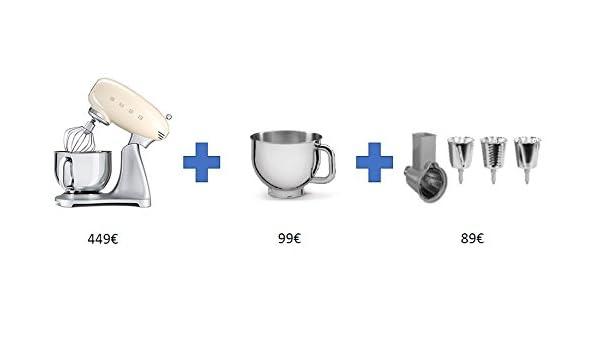Smeg SMF21CREU - Batidora, color Crema y plateado - BUNDLE: taza extra + accesorio rallador: Amazon.es: Juguetes y juegos