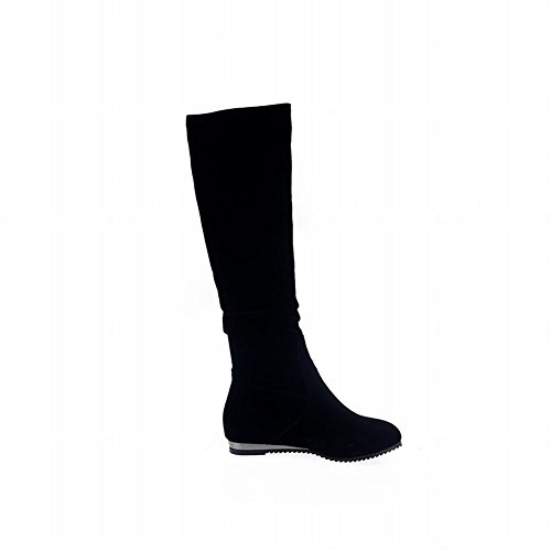 Fashion Dragonfly Rhinetones Long Boots Carolbar Women's Chic Black Nubuck tEvwq6F
