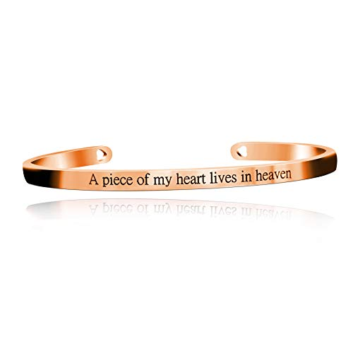 Uloveido A Piece of My Heart Lives in Heaven Memorial Bracelets Stainless Steel Initial Inspirational Cuff Bangle Gifts for Families Y466-Rose Gold