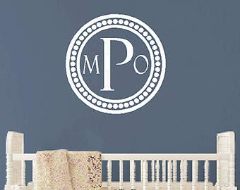 Three Initial Monogram Vinyl Wall Decal with Double Border Polka dot Circle Frame - Traditional Monogram Vinyl Wall Decal