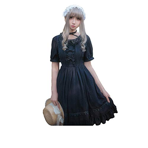 Smiling Angel Girls Black Sweet Lolita Dress Princess Court Skirts Cosplay Costumes
