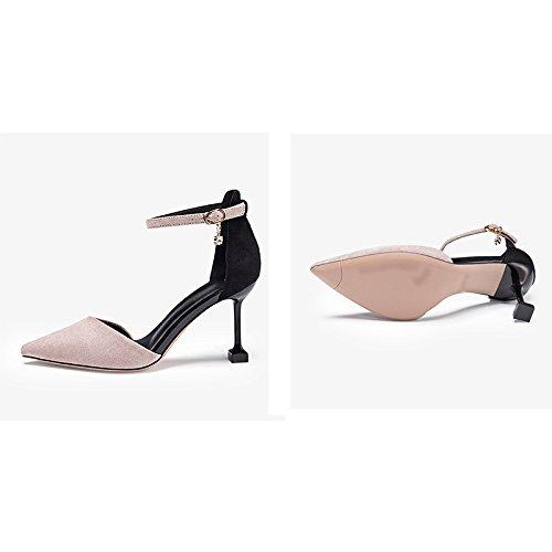 JIANXIN Die Sportiven Sportiven Sportiven Sandalen Für Damen Im Frühling Und Sommer Sind Ultra High Heels Und Ein Wort Für Schuhe Für Frauen. (Farbe : Grau, größe : 34)  - 1ec740