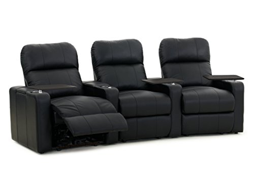 Octane Turbo XL700 Row of 3 Seats, Curved Row in Black Bonded Leather with Manual Recline by Octane Seating