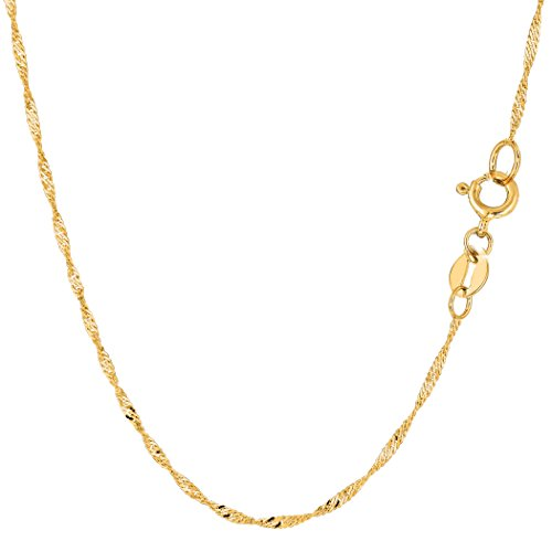 10k Yellow Gold Singapore Chain Necklace, 1.5mm, 16