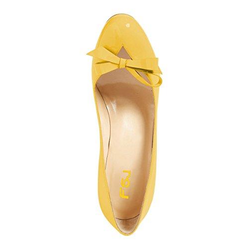 Fsj Donna Carino Tacco Alto Scarpe Con Fiocco Tacco Alto Slip On Tacchi A Spillo Scarpe Ritaglio Dimensioni Taglia 4-15 Us Giallo
