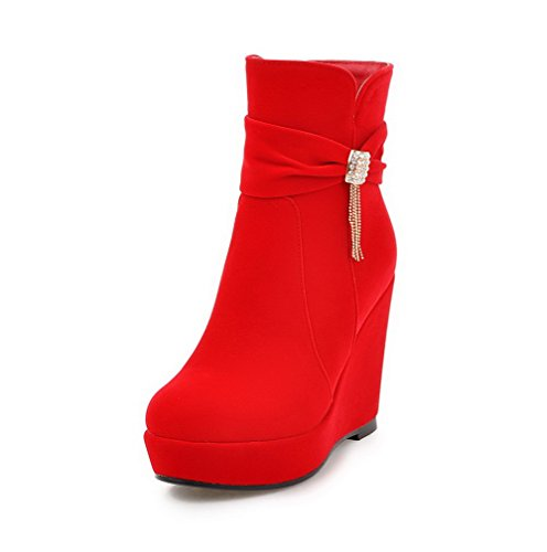 AgooLar Damen Hoher Absatz Rein Rund Zehe Reißverschluss Stiefel mit Beschlagene Strass, Rot, 39