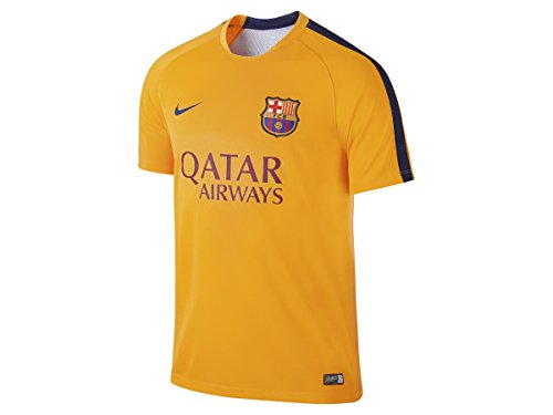 Nike 2015/16 Mens FC Barcelona Pre-Match Training Soccer Short-Sleeve Shirt [UNIVERSITY GOLD] (L)