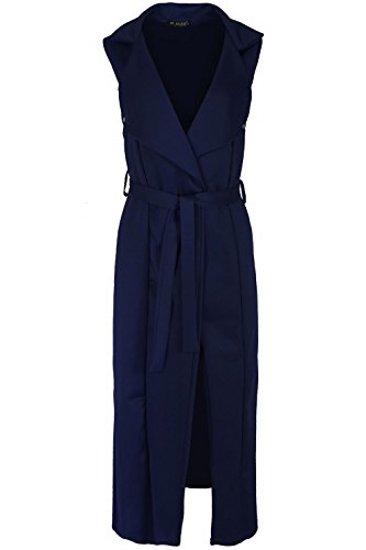 Black Khaki Navy Stone (OOPS OUTLET Women's Sleeveless Duster Coat Open Collar Button Tie Belt Cardigan)