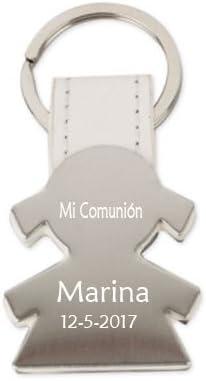 Llavero niña sobre cuero blanco grabado con nombre y fecha. Pack 10 unidades