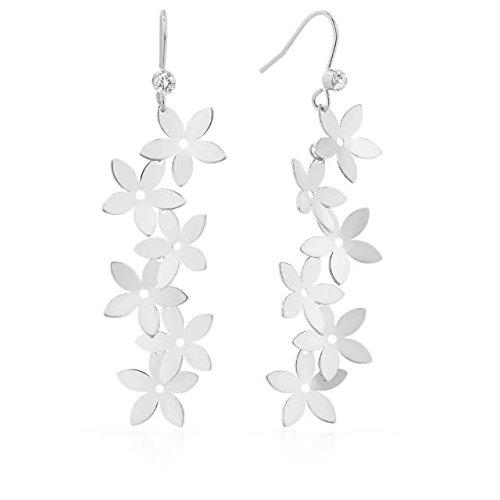 Lazycat 18k Plated Flower Floral Earrings Cherry Blossom Dangle plant Earrings (Dangling Cherry)