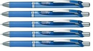 - Pentel EnerGel Deluxe RTX Retractable Liquid Gel Pen, 0.5mm, Fine Line, Needle Tip, Blue Ink /Blue Body/ Value Set of 5